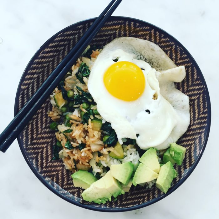 Ginger Fried Rice with Kale and Fried egg