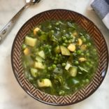 Zucchinis, spinach and butter beans soup