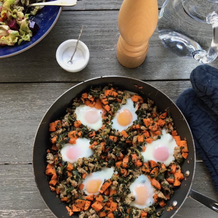 Sweet potato hashbrown with sausages and spinach