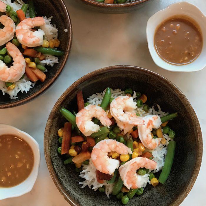 Shrimp and veggie stir fry with peanut sauce