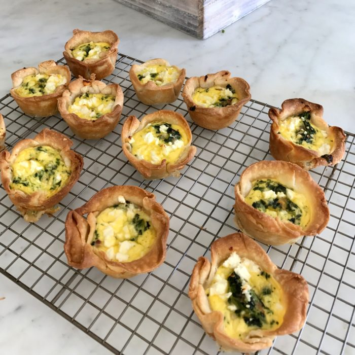 Mini spinach and feta Quiche