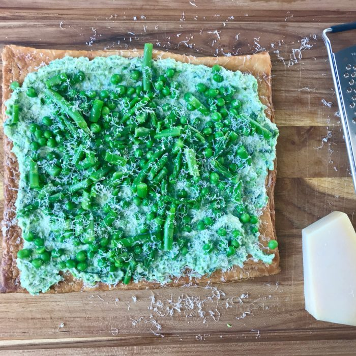 Ricotta and English pea Tart