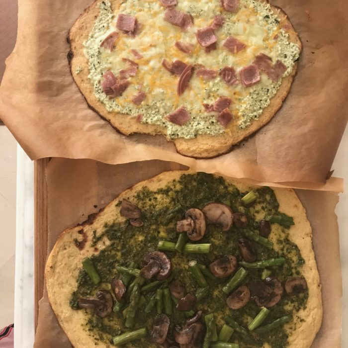 Cauliflower chickpea pizza