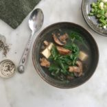 Mushroom, Tofu and Spinach Soup
