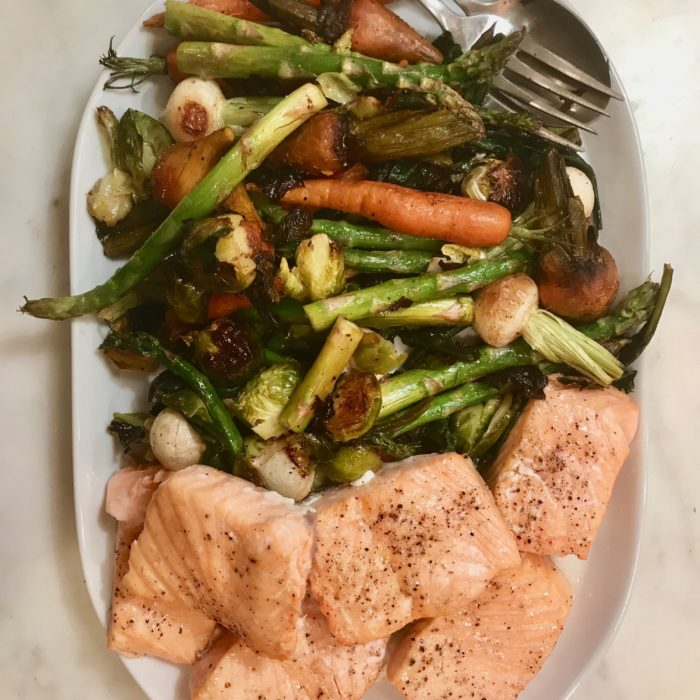1 sheet salmon and veggies