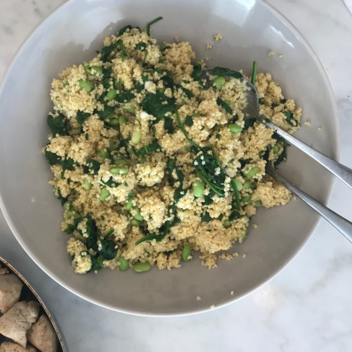 Millet pilaf with edamame and spinach