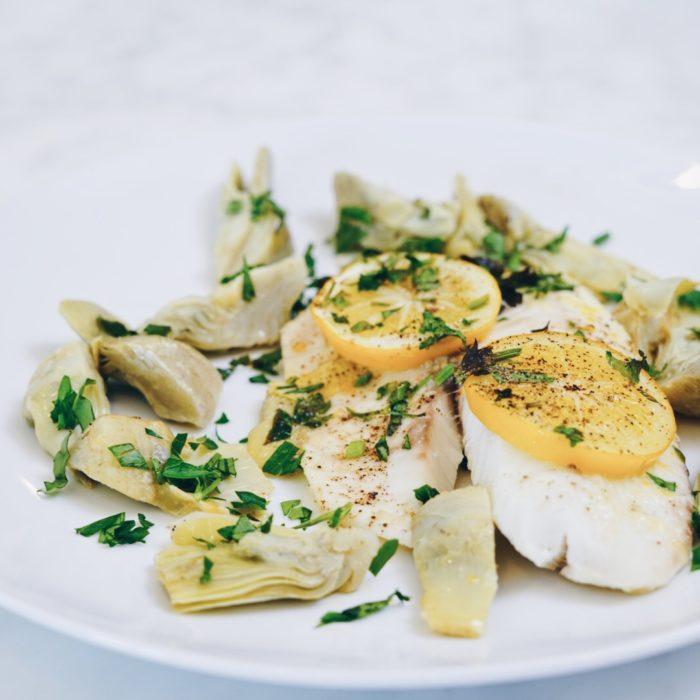Baked Lemon Garlicky Tilapia with Artichokes