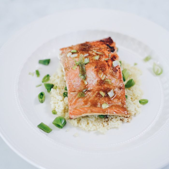 Marinated Salmon on Couscous Pilaf