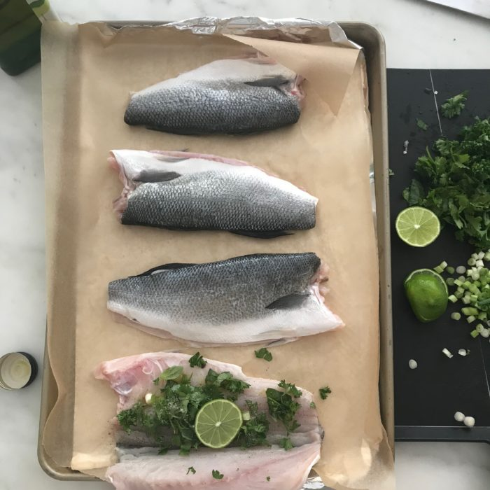 Roasted Seabass with fresh Herbs and Spicy Thai Sauce