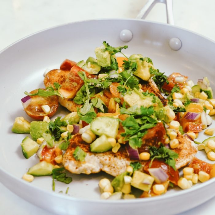 Chicken with Corn and Avocado Salsa