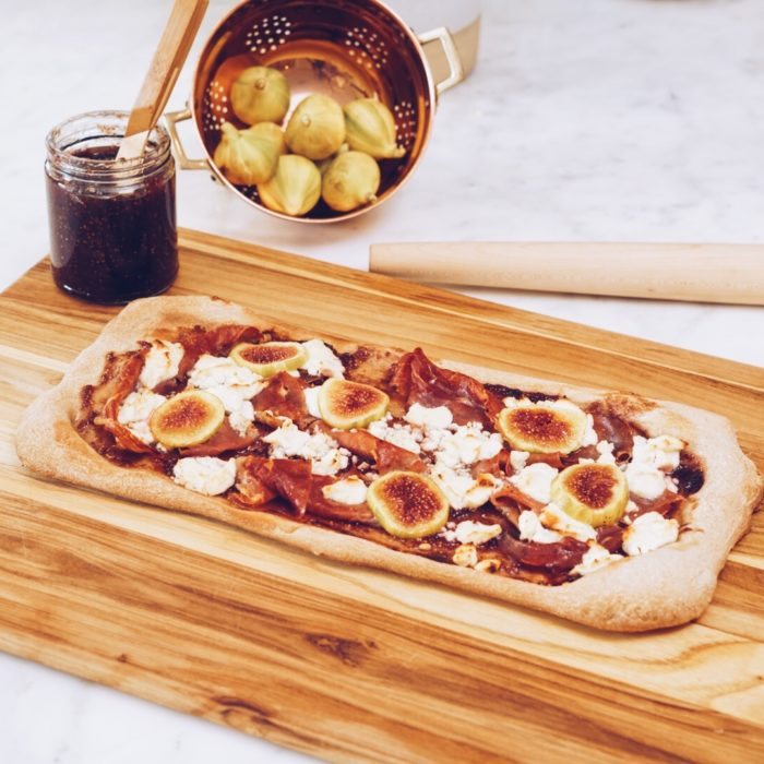 Goat Cheese, Fig and Prosciutto Pizza