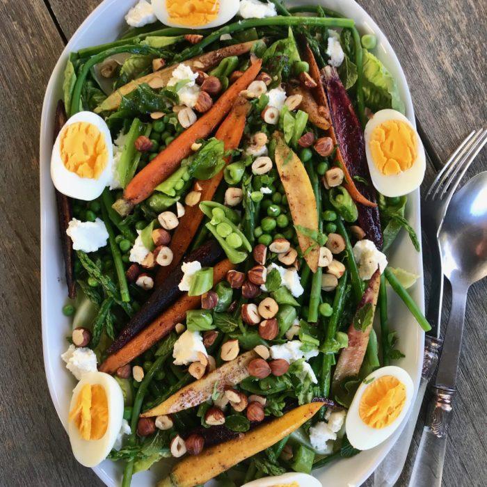Roasted carrots, peas and asparagus salad