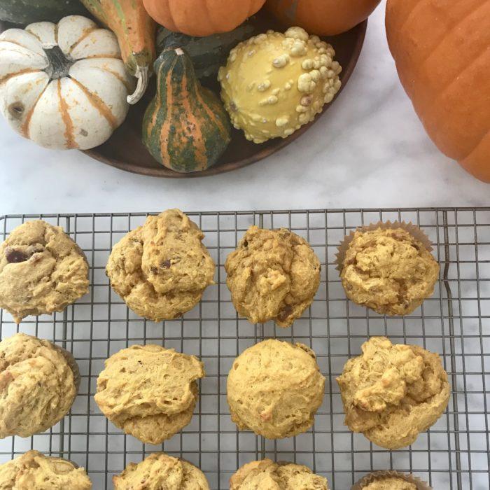 Pumpkin, banana and date muffins