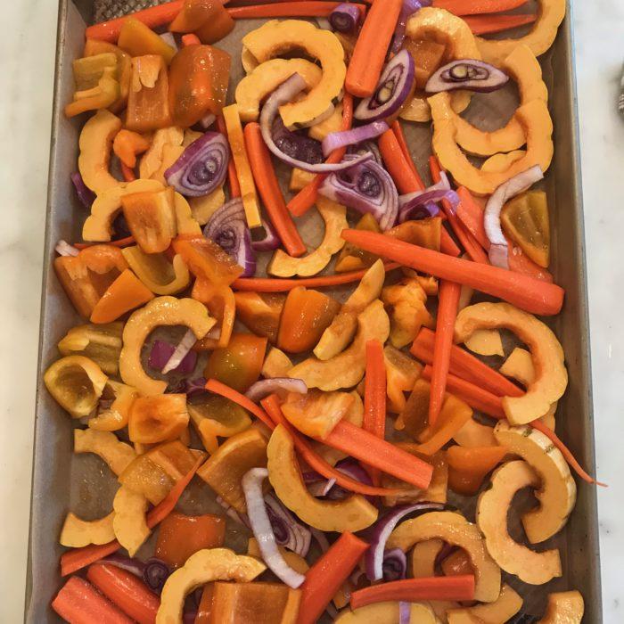 1 tray baked veggies
