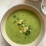 Zucchini, pea and basil soup