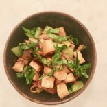 Crispy tofu with fresh basil and veggies