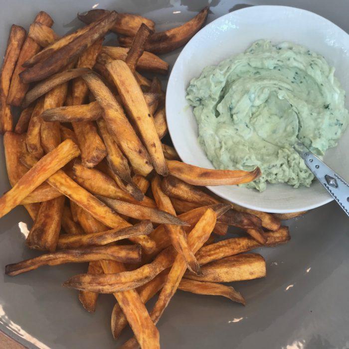 Sweet potato fries with avocado dip