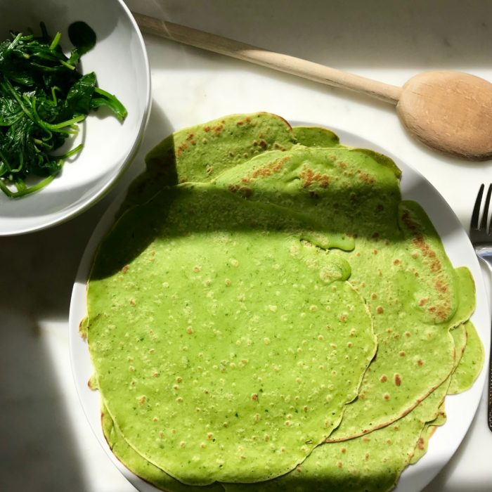 Green savory crepes