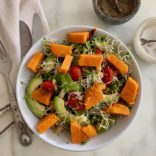 Warm tomatoes and sweet potato Italian salad