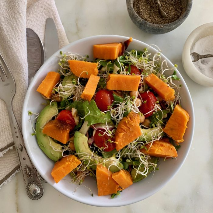 Warm tomatoes and sweet potato Italian salad