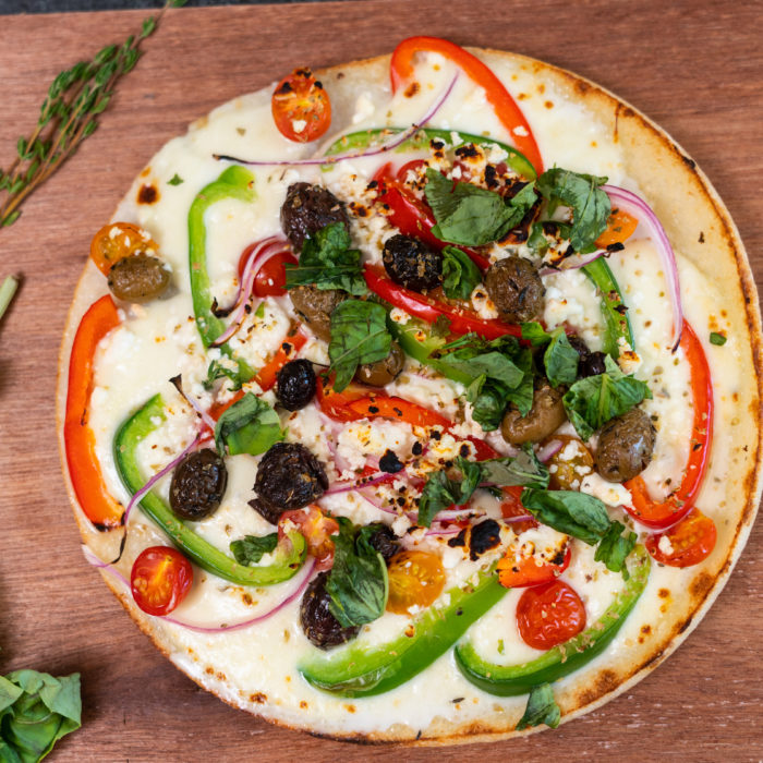 Cauliflower Greek pizza