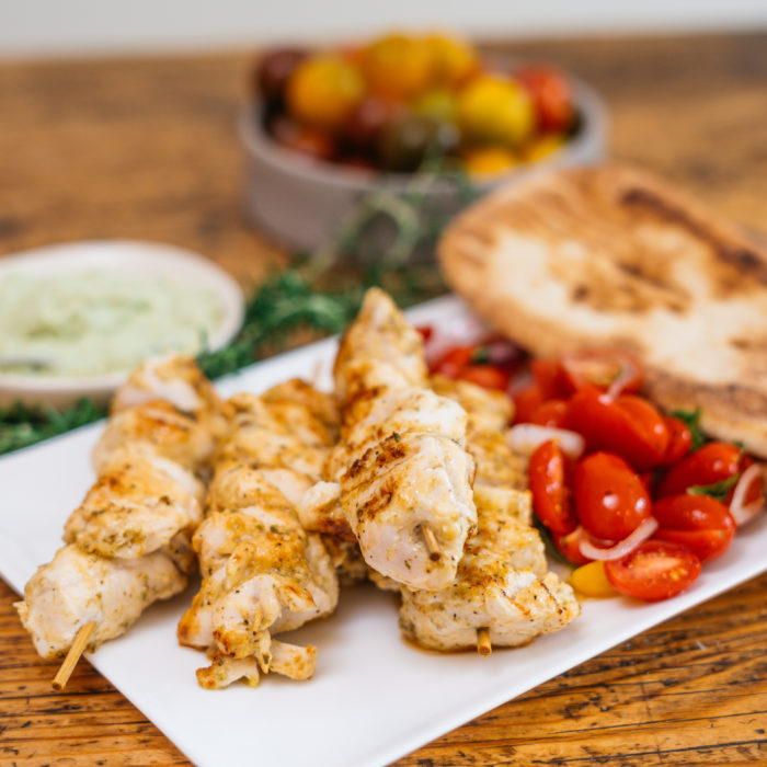 Chicken Slouvaki with tomato salad