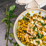 Swordfish with mint sauce and corn salsa