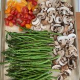 Roasted asparagus, mushrooms and tomatoes