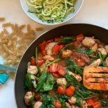 Sausage, tomato and spinach pasta