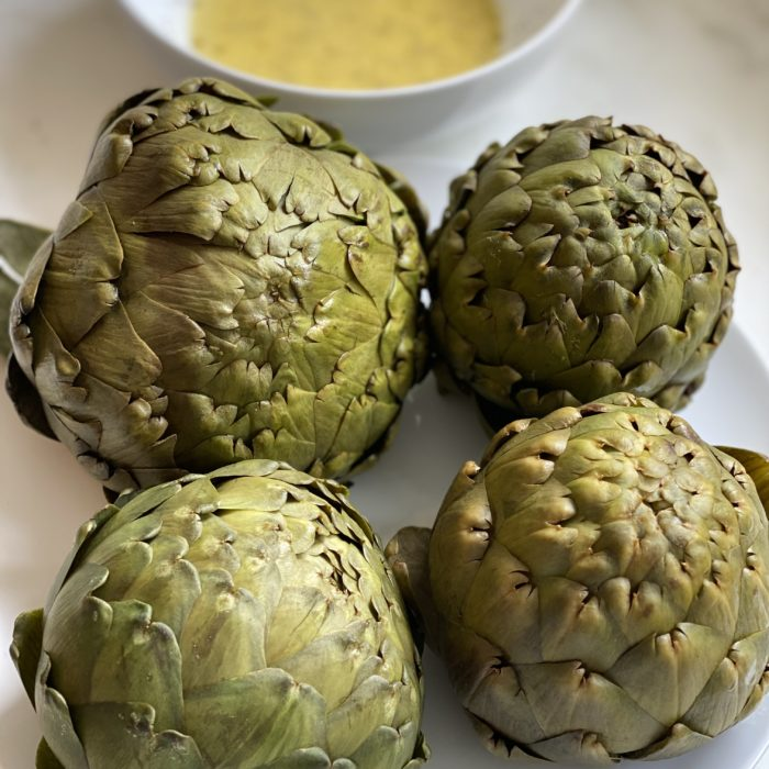 Artichokes with apple cider-maple vinaigrette