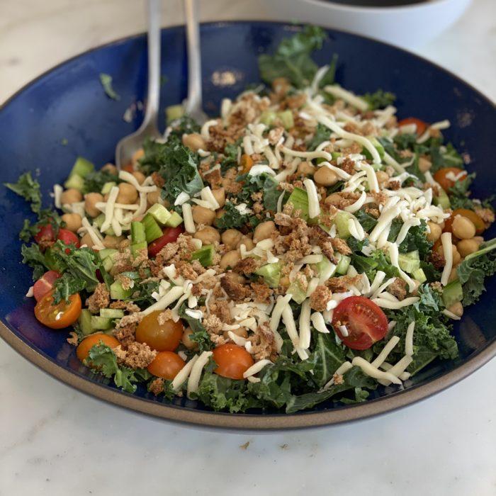 Italian kale salad with balsamic vinaigrette