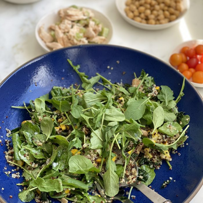 Quinoa arugula salad with sauté summer squash