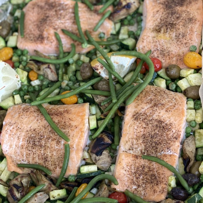 Spring greek salmon tray bake