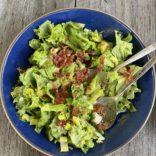 Pea salad with crispy prosciutto bits