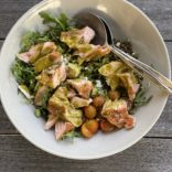 Lazy salmon salad with pesto vinaigrette