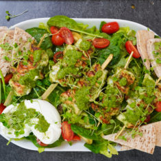 Pesto Chicken kebabs salad