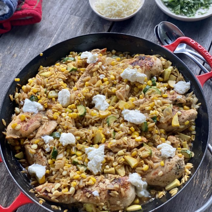 1 skillet summer chicken with corn and orzo