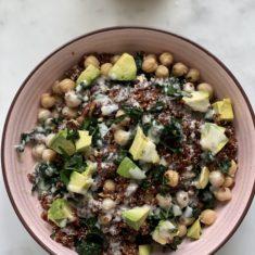 Kale and quinoa salad with tahini miso dressing
