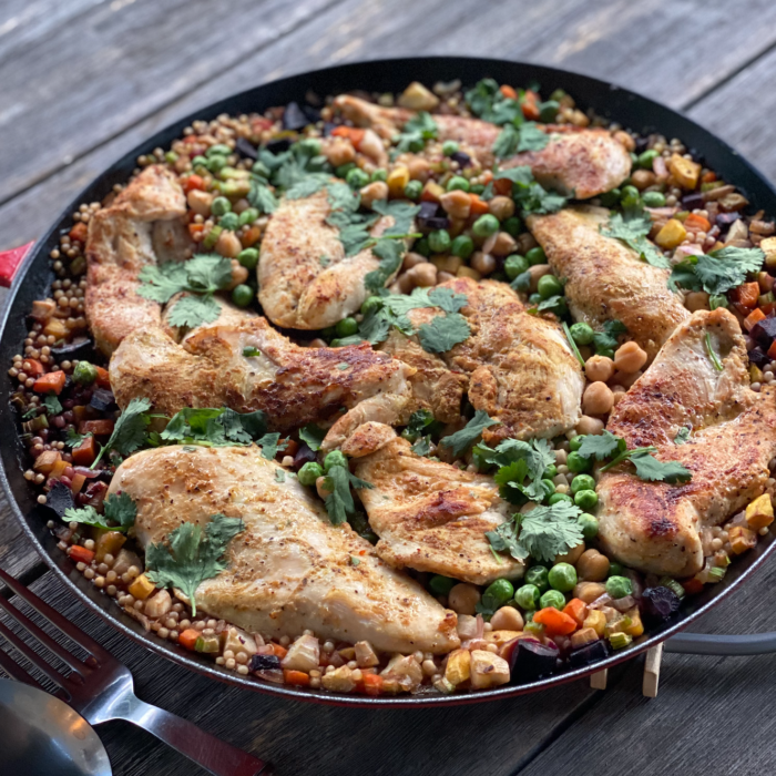 1 skillet Mediterranean inspired chicken with veggie couscous
