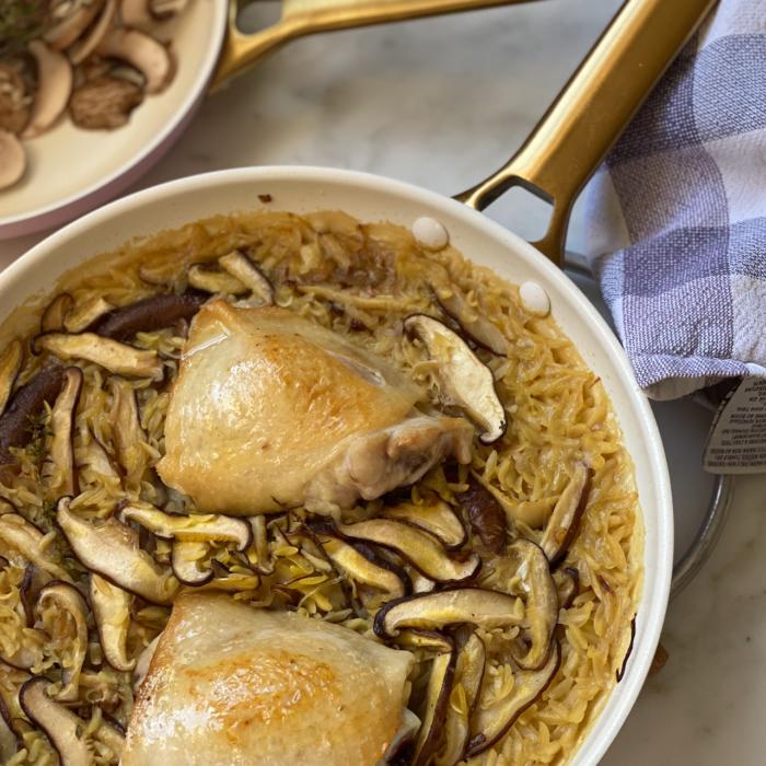 Chicken mushroom and orzo