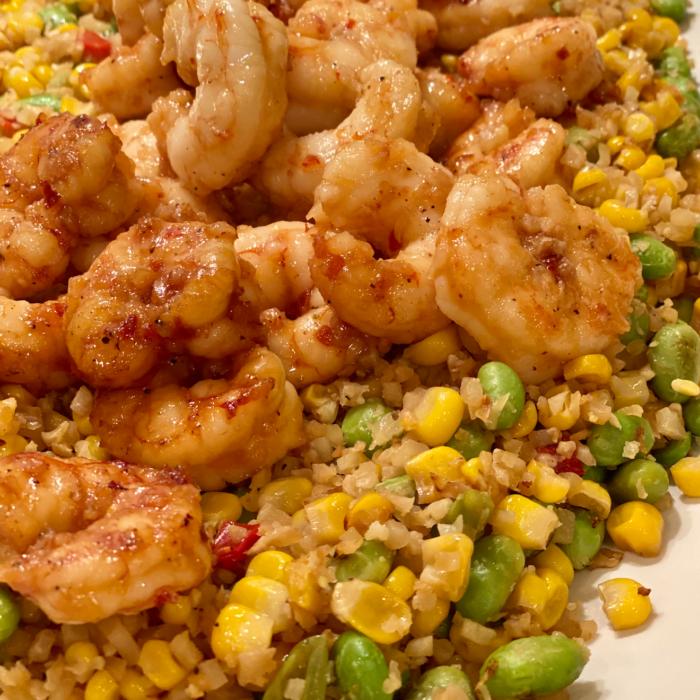 Honey garlic shrimps with cauliflower fried rice