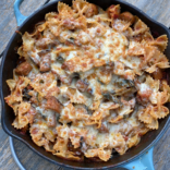 Chicken sausage, eggplant and pasta bake