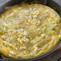 Leek and feta frittata