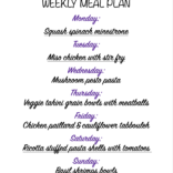 Weekly meal plan 01/18