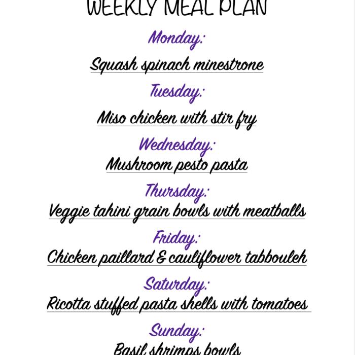 Weekly meal plan 01/18