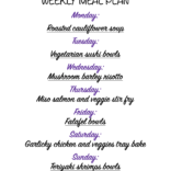 Weekly meal plan 01/25