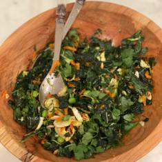 Asian kale slaw with edamame