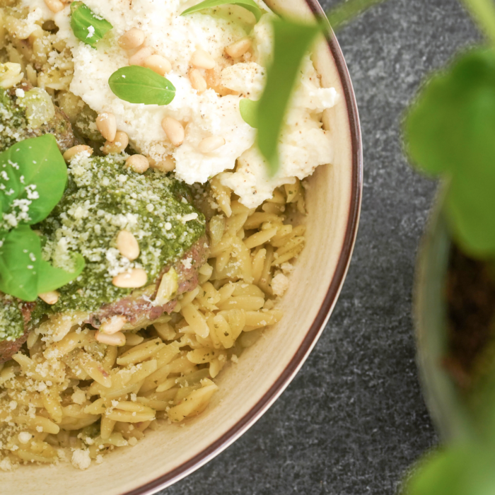 Pesto meatballs and orzo pasta