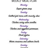 Weekly meal plan 01/22