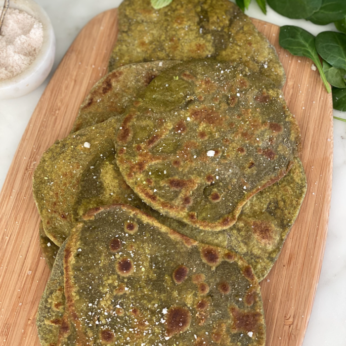 Green spinach flat bread